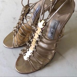 Authentic Jimmy Choo Gold Strap Heels